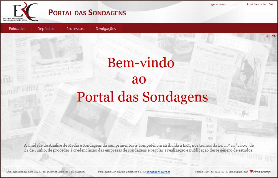 Portal das Sondagens - Entrada
